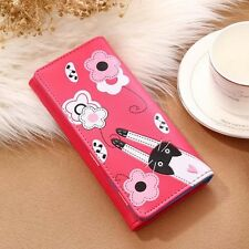Portefeuille femme / fille rose porte cartes monnaie feuille chats chatons 48h