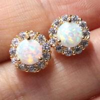 1 Ct Round Cut White Opal Halo Stud Earrings