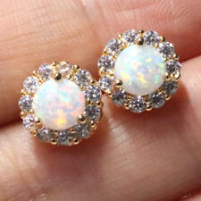 1 Ct Round Cut White Opal Halo Stud Earrings