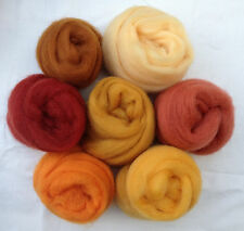 "7 colors Forever Amber  Wool roving 1oz ea 2 ~50"" corriedale felt wet soap honey"