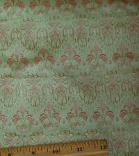 "Lime/Orange Satin Brocade Jacquard 100% Silk Fabric 44"" Wide, By Yard (JD-353A)"
