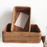 Manual Rectangular Weaving Rattan Wicker Basket Fruit Miscellaneous Food Basket