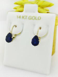 GENUINE 1.86 Cts BLUE SAPPHIRES DANGLING EARRINGS 14K GOLD *** Free Certificate