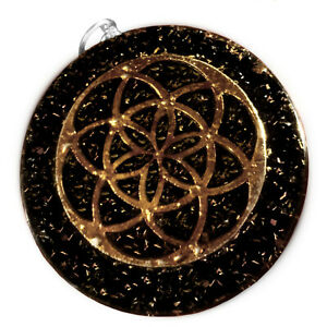 Tourmaline Sacred Geometry Orgone Energy Pendant Copper Orgonite Necklace HANDMA