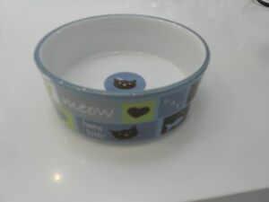 """PETRAGEOUS DESIGNS MEOW PURR HERE KITTY BOWL VG++ CONDITION 5"""" X 1 3/4"""""""