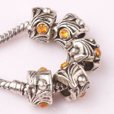 Fashion 5pcs Silver Czech big hole Beads Fit European Charm Bracelet DIY #E193
