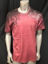 NEW Key Closet LA Men's Short Sleeve Burgundy  T-Shirt Foil Tattoo Studs LARGE