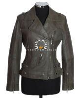 Amelia Olive Green Ladies Womens Biker Style Real Lambskin Leather Jacket