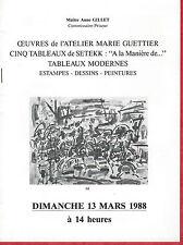 Catalogue de vente tableau Atelier peinture MARIE GUETTIER - SETEKK 1988