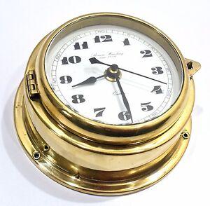 Marine vintage clock benora humburg since 1886 captain brass quartz nautical (2)