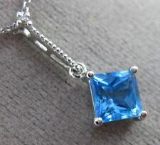 ESTATE 1.41CT DIAMOND & AAA BLUE TOPAZ 14K WHITE GOLD 3D SQUARE FLOATING PENDANT