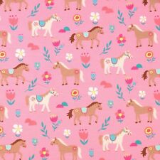 Stoff Jersey Baumwolle Panel Pferde Pony Kinderstoff 0,75m x 1,40m rosa bunt