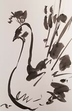 JOSE TRUJILLO SIGNED COA ABSTRACT MODERN INK WASH BLACK AND WHITE PEACOCK 6X9