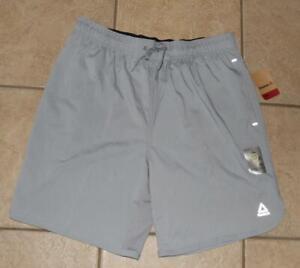 NEW NWT Choose Size Mens Slim Gray Elastic Waist Athletic Shorts REEBOK PACELINE