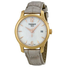 Tissot T-Trend Tradition Mother of Peal Grey Leather Ladies Watch T0632103711700