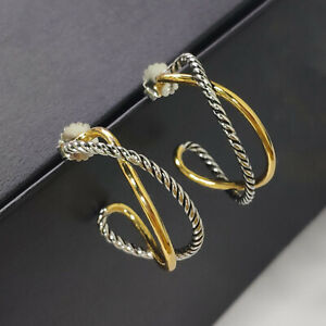 David Yurman Silver & Golden Crossover Collection large Hoop stud Earrings