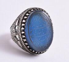 Yemeni Yemen Islamic blue agate aqeeq aqiq 925 sterling Silver Men Ring
