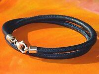 Mens / Ladies Dark Blue nappa leather & sterling silver bracelet by Lyme Bay Art