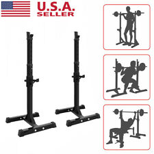 Adjustable Squat Rack Bench Press Weight Lifting Barbell Stand Home Gym Workout