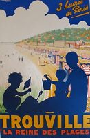 trouville france  Vintage Illustrated Travel Poster Print on canvas