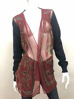 New! Sacai 1687 Women's Wool Cardigan with Sheer Paisley Front w/ Pocket Size: 2