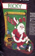 Vtg Bucilla Warming Up Santa Wood Stove Christmas Needlepoint Stocking Kit 60543