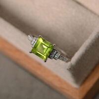 2.50 Ct Princess Cut Peridot & Diamond Engagement Ring 14k White Gold Finish