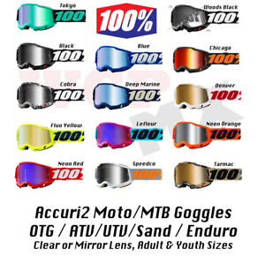 100% ACCURI 2 Goggles - Offroad MX Moto SXS MTB - CLEAR or MIRROR LENS Goggles