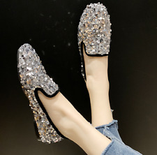 Fashion Women's Shiny Sequins Flats Round Toes Glitter Loafers Shoes Casual