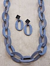 """Chain 40"""" (100cm) Necklace Earrings N2.15 Natural Buffalo Horn Jewelry Set Grey"""