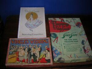 3x Vintage 1930's-50's CARD & PARTY GAMES Winkles Wedding Dan Dare Treasure Hunt