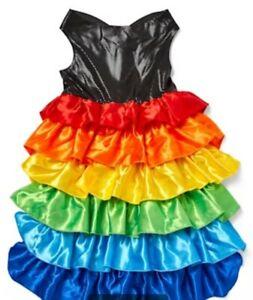 PetCo NEW Youly Medium Proudest Rainbow Ruffle Dress w/Black Bodice Tulle Lining