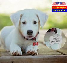 Bone Paw Print Custom laser Engraved Dog Cat Tag Personalized & Free Split Ring