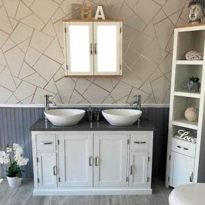 Bathroom Double Vanity Unit White Painted Cabinet Grey Quartz Ceramic Basin 402P