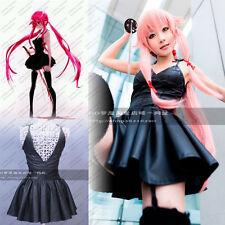 Future Diary Mirai Nikki Gasai Yuno Cosplay Costume Anime Black Leather Dress Cu