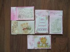 5 BRAND NEW Wild Rose Studio Clear Stamps Cat/Bear/Christening/