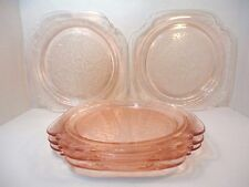 Vintage Depression Glass Pink Clear Square Plates Dish Set of 5