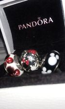 3 pc Pandora Authentic Disney Parks Mickey & Minnie Mouse Mania Charm Set Boxed