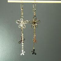 14K solid multi-tone yellow/white/rose gold double flower hook earrings 2.8 gram