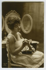 c 1920 Risque n/ Nude French BUSTY BOUDOIR BEAUTY at vanity rppc