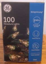 GE 100 Clear Miniature Lights On Green Wire String-A-Long 20.6 Ft-Holiday Time