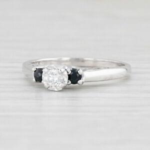 0.33ctw Diamond Blue Sapphire Engagement Ring 14k White Gold Size 8 Round Cut