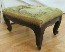 Vintage Foot Stool Ottoman Mahogany Carved Wood Country Primitive Needlepoint