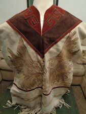 Indian Western Mexican Hand Painted & Tooled Suede Leather Poncho