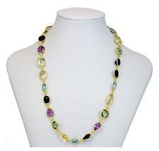Multiple Gemstone Necklace Bezel Set Large Garnet Topaz 14k Vermeil gold 24 Inch