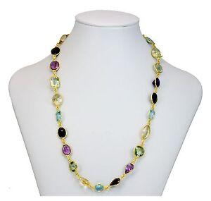 "Multiple Gemstone Necklace Bezel Large Garnet Topaz 14k Vermeil yellow gold 24 """