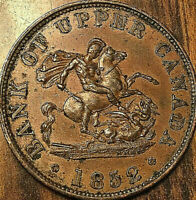 1852 UPPER CANADA DRAGONSLAYER HALF PENNY TOKEN Fantastic example Medal die axis