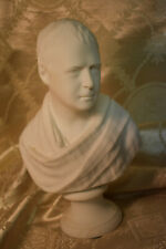 """Antique Bust of Robert Burns With Tartan Stoll, 8"""" Tall, Possible Parian Ware"""