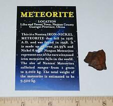 NANTAN IRON METEORITE with Color Information Card 4-10 gram size #190 2o