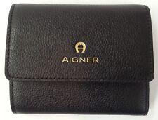Aigner Damen Geldbörse Portemonnaie klein kompakt Leder schwarz